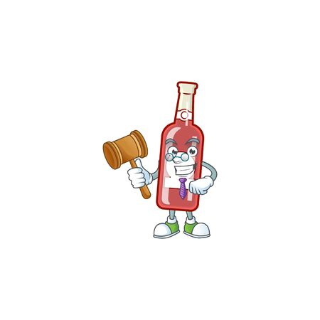 Smart judge champagne red bottle presented in cartoon character style. Vector illustration Foto de archivo - 135379998