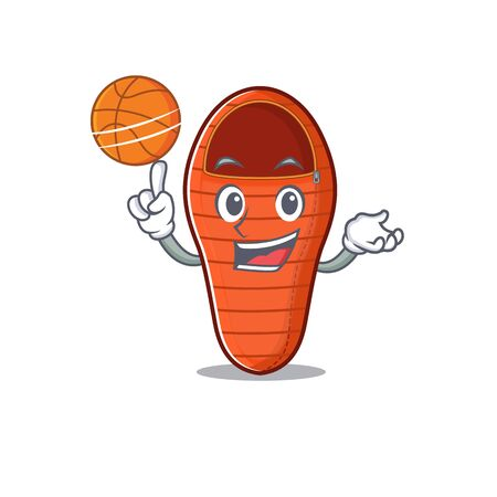 Mascot of sleeping bag cartoon character style with basketball. Vector illustration