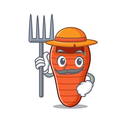 Farmer sleeping bag cartoon character with hat and tools. Vector illustration Illustration