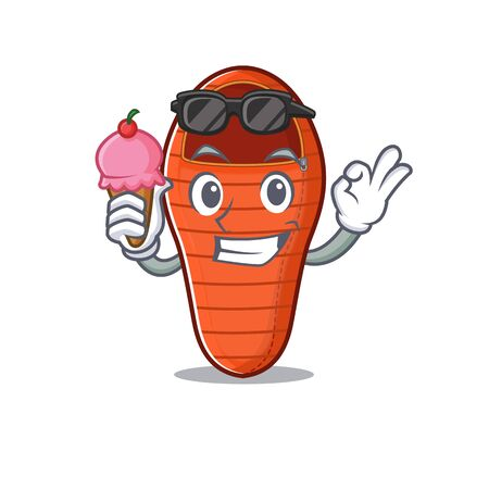 cartoon Mascot featuring sleeping bag with ice cream. Vector illustration