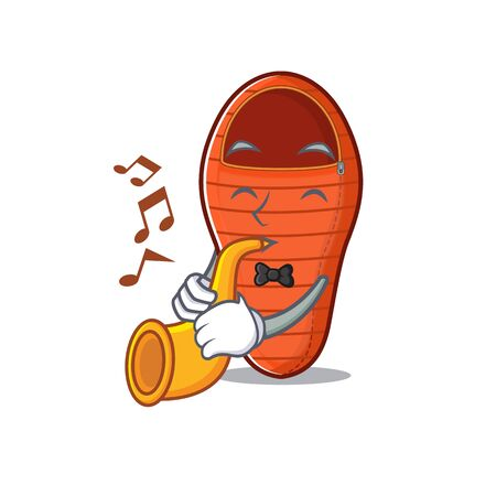 Super cool sleeping bag cartoon character performance with trumpet. Vector illustration