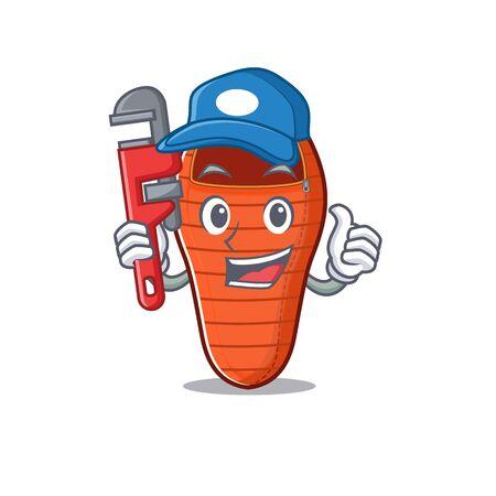 Plumber sleeping bag on cartoon character mascot design. Vector illustration Stock Illustratie