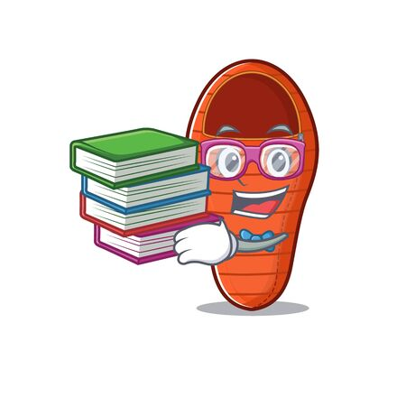 Student with book sleeping bag mascot cartoon character style. Vector illustration