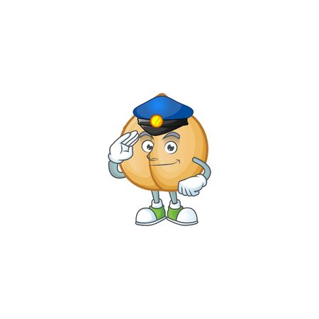 Chickpeas Cartoon character dressed as a Police officer. Vector illustration