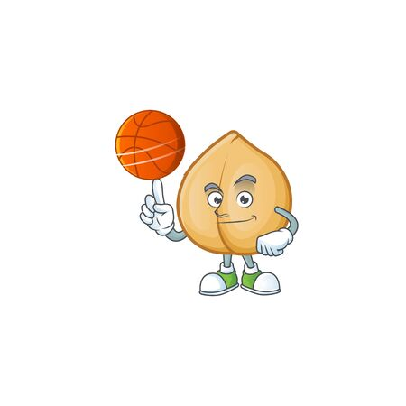 Mascot of chickpeas cartoon character style with basketball. Vector illustration 向量圖像
