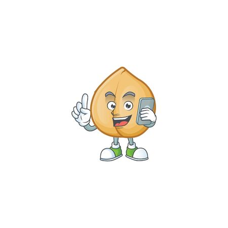 a cartoon style of chickpeas speaking on the phone. Vector illustration 向量圖像