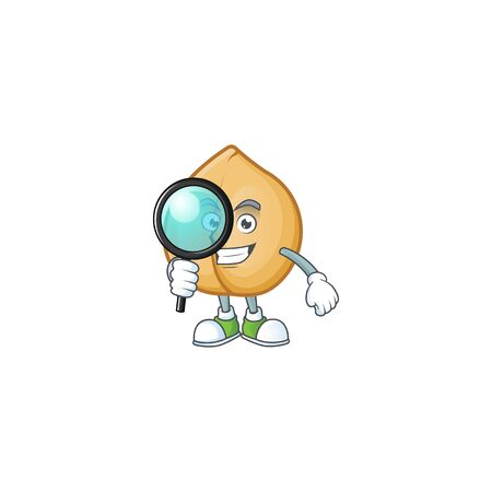 One eye chickpeas Detective cartoon character style