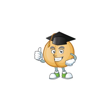Happy chickpeas wearing a black Graduation hat. Vector illustration