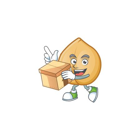 With box Super Funny chickpeas cartoon character style. Vector illustration Ilustração