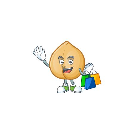 Cheerful chickpeas cartoon character waving and holding Shopping bags. Vector illustration