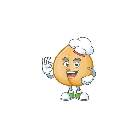 Happy Chef chickpeas cartoon character with white hat. Vector illustration