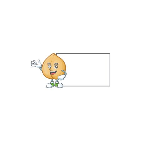 Chickpeas with board cartoon character mascot style. Vector illustration