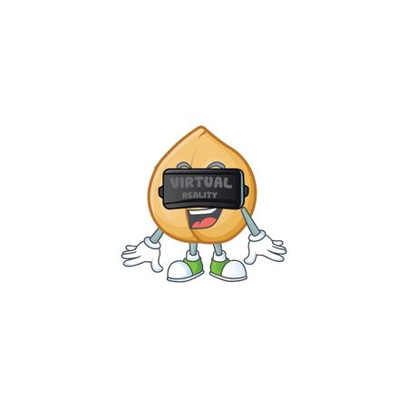 cool chickpeas character in Virtual reality headset. Vector illustration