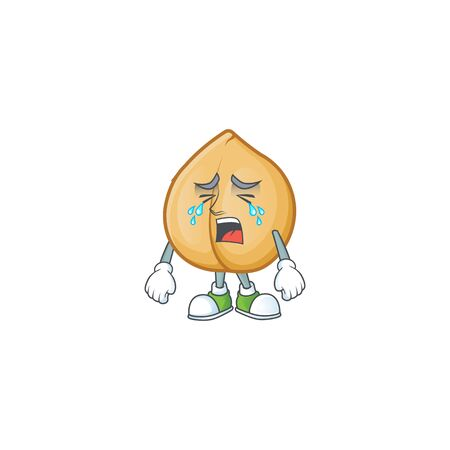 Sad Crying chickpeas cartoon character design style. Vector illustration