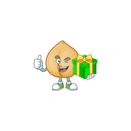 cartoon character of happy chickpeas with gift box. Vector illustration
