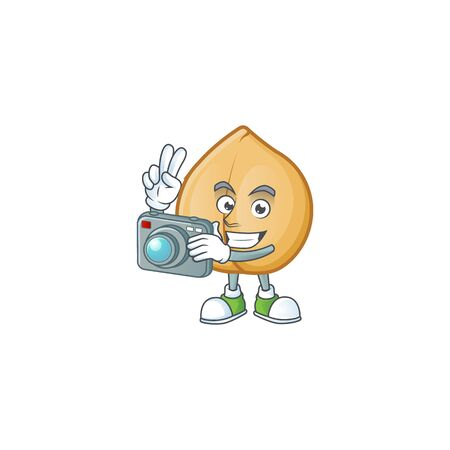 a professional Photographer chickpeas cartoon character with a camera. Vector illustration