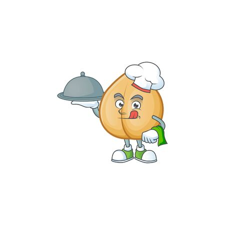 smiling chickpeas as a Chef with food cartoon style design. Vector illustration