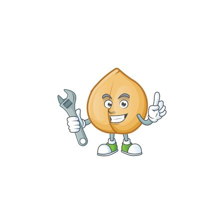 Professional Mechanic chickpeas mascot cartoon character style. Vector illustration