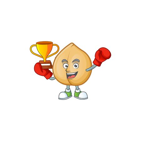 Super cool Boxing winner chickpeas in mascot cartoon style. Vector illustration 向量圖像