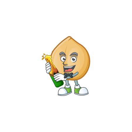 Cool chickpeas with beer mascot cartoon style. Vector illustration