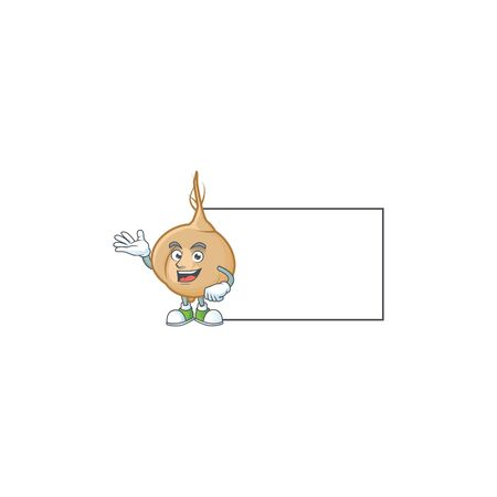 Jicama with a board cartoon character style. Vector illustration Illustration