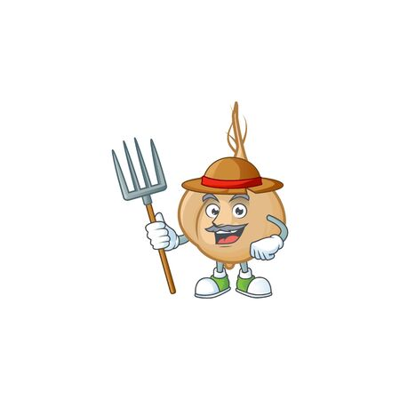 Farmer jicama cartoon character with hat and tools. Vector illustration