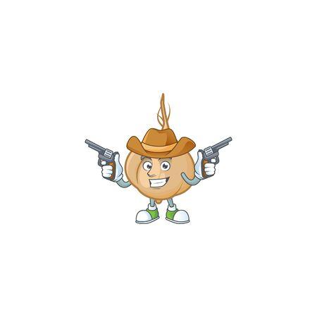 Jicama cartoon character as a Cowboy holding guns. Vector illustration Stock Vector - 135394677