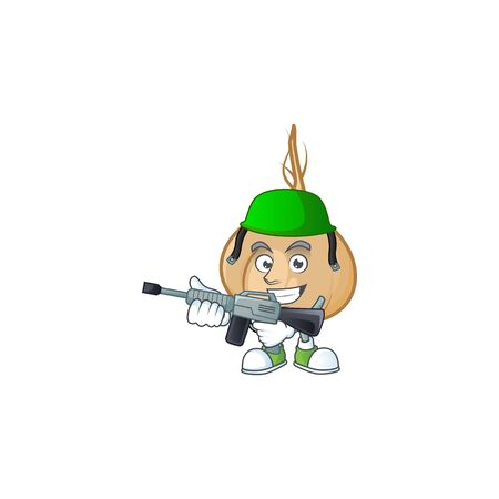 A cartoon style of jicama Army with machine gun. Vector illustration Illustration