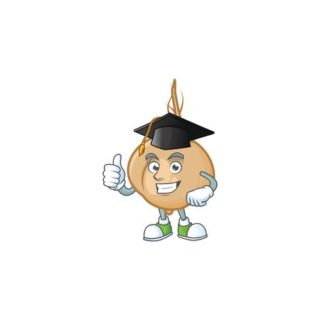 Happy jicama wearing a black Graduation hat. Vector illustration