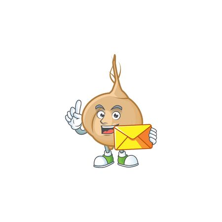 With envelope Happy face jicama mascot cartoon style. Vector illustration