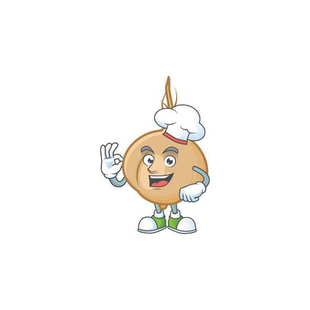 Happy Chef jicama cartoon character with white hat. Vector illustration