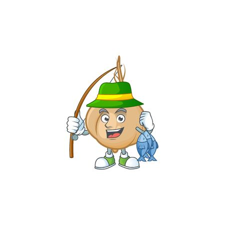 Happy smiley funny Fishing jicama design style. Vector illustration
