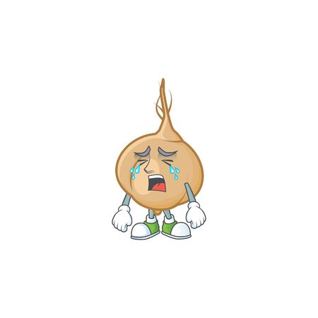 Sad Crying jicama cartoon character design style. Vector illustration Illustration