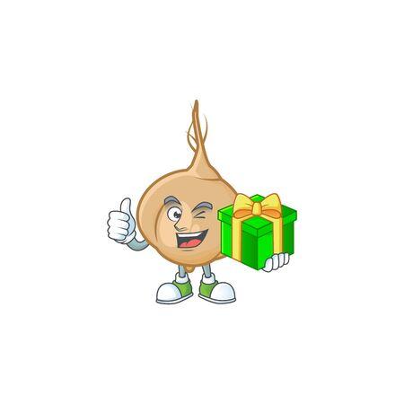 cartoon character of happy jicama with gift box. Vector illustration
