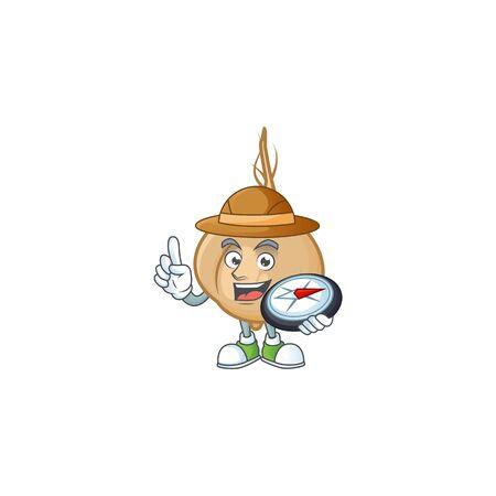 Explorer jicama cartoon character holding a compass