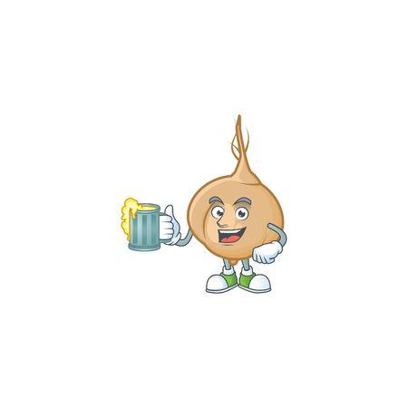 Happy jicama holding a glass of beer. Vector illustration