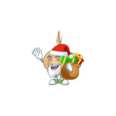 Santa with gift bag jicama Cartoon character design. Vector illustration