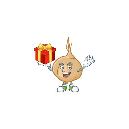 Mascot of jicama character up a gift. Vector illustration