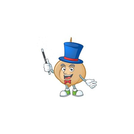 Cartoon character of jicama Magician design style. Vector illustration Illustration