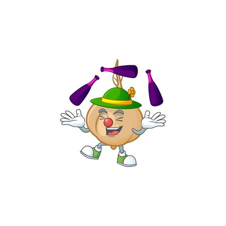 Super cool Juggling jicama mascot cartoon style. Vector illustration