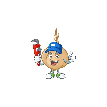 Plumber jicama on cartoon character mascot design. Vector illustration