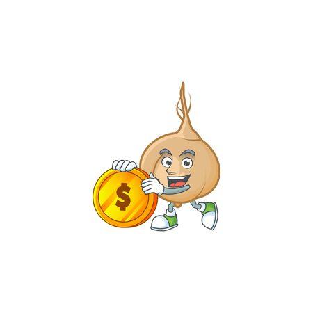 happy jicama cartoon character with gold coin. Vector illustration Illustration