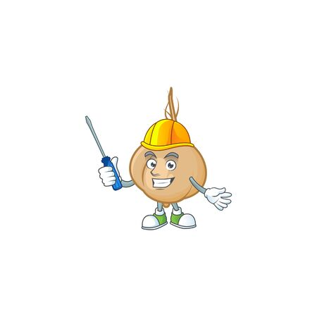 Cool automotive jicama presented in cartoon character style. Vector illustration Illustration
