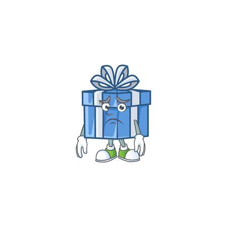 Blue gift box Cartoon character showing afraid look face. Vector illustration Ilustração