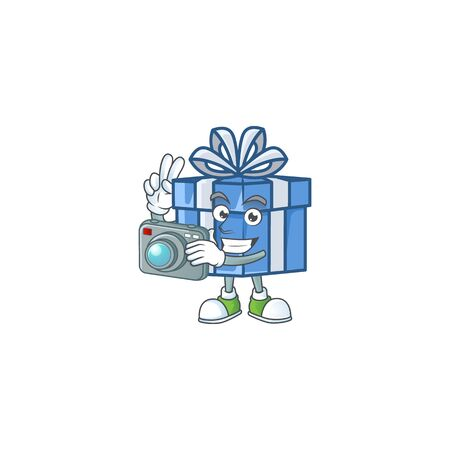 a professional Photographer blue gift box cartoon character with a camera. Vector illustration
