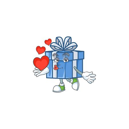 With heart blue gift box cartoon character mascot style. Vector illustration