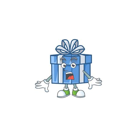 Surprised blue gift box face gesture on cartoon style. Vector illustration