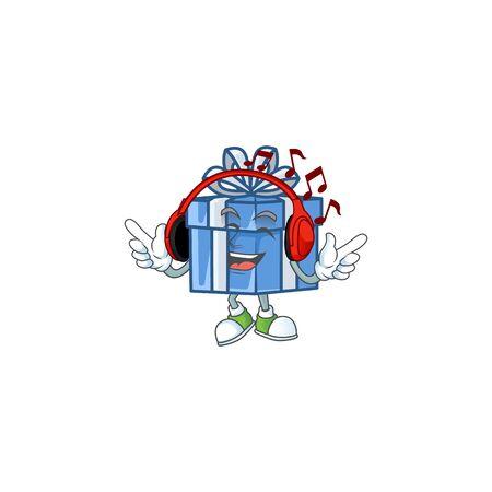 Listening music blue gift box mascot cartoon design style. Vector illustration