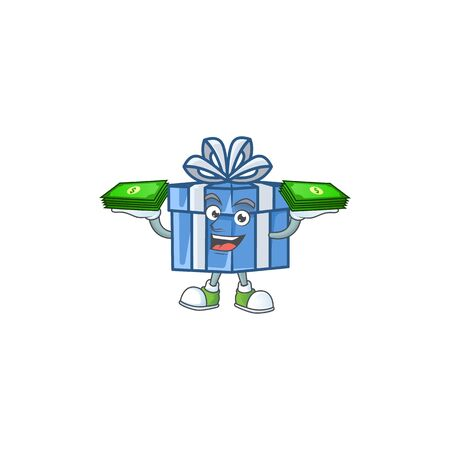 Confident smiley blue gift box character with money on hand. Vector illustration