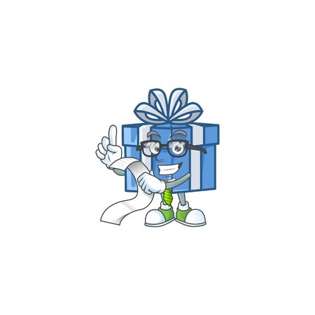 Cute blue gift box cartoon character with menu ready to serve. Vector illustration Illustration